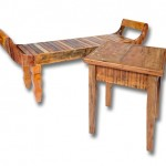 mesa com poltrona em madeira